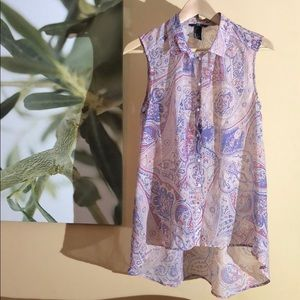 H&M paisley collared blouse with buttons size 10